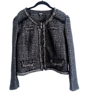 Apt 9 Black Silver Tweed Metallic Jacket Size XL
